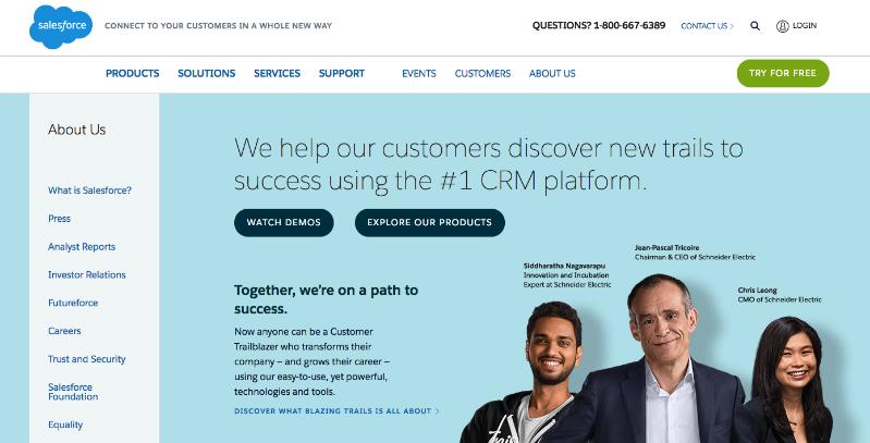 go to http://www.salesforce.com/company/