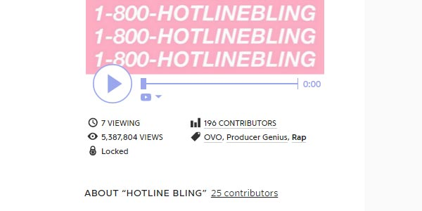 go to http://genius.com/Drake-hotline-bling-lyrics
