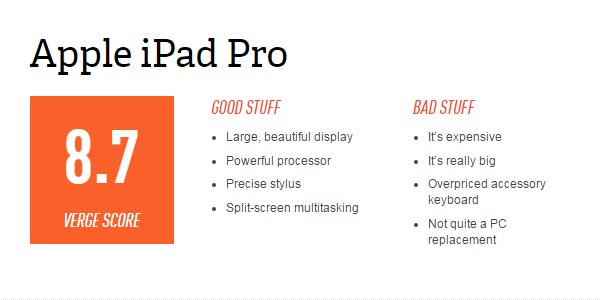 go to http://www.theverge.com/2015/11/11/9705966/apple-ipad-pro-review