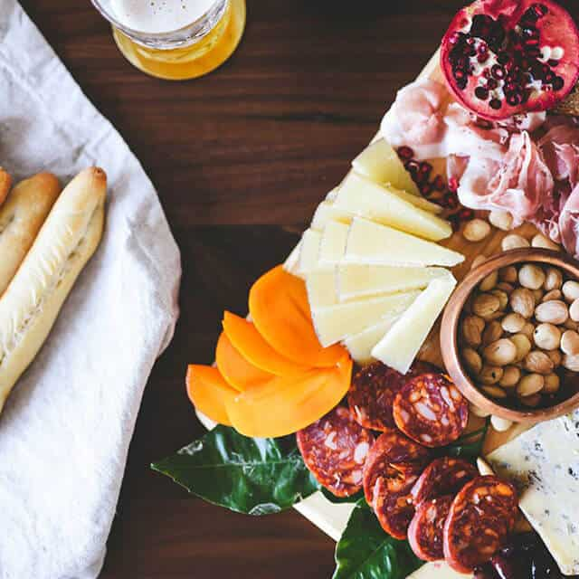 charcuterie board with food