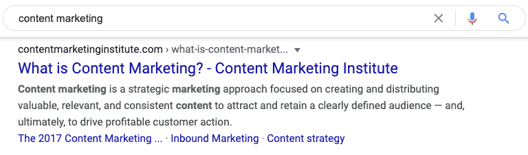 content marketing search result