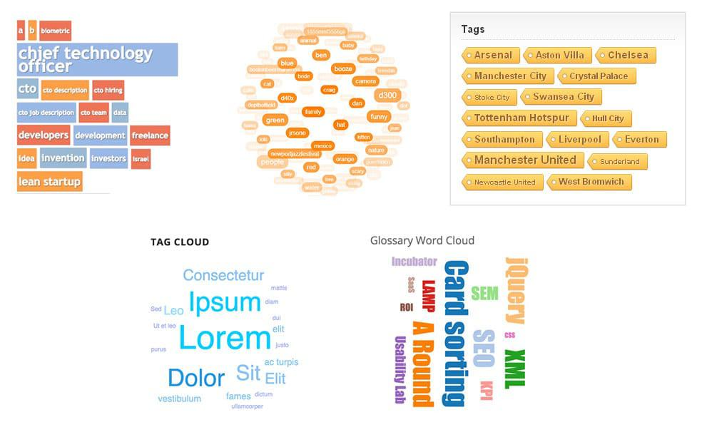 Examples of tag cloud widgets in the sidebar