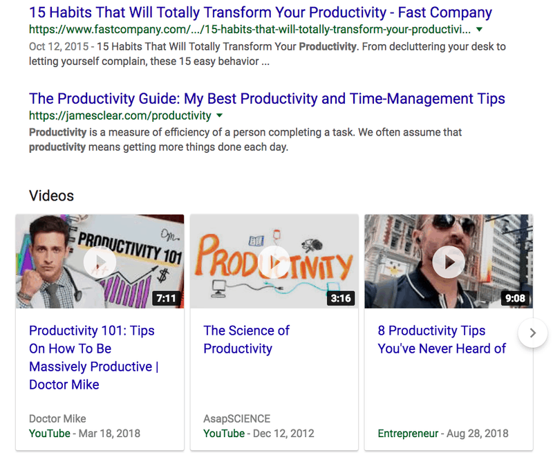 search results for productivity