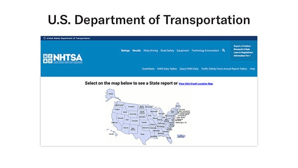 US Dept of Transportation data