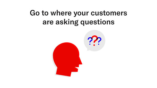 go to where your customers are asking questions