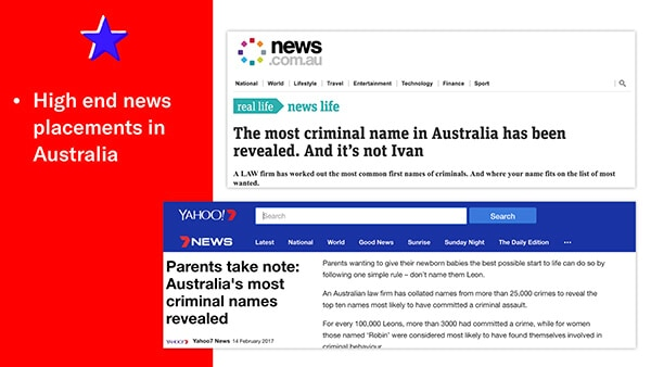 high end news placements in australia