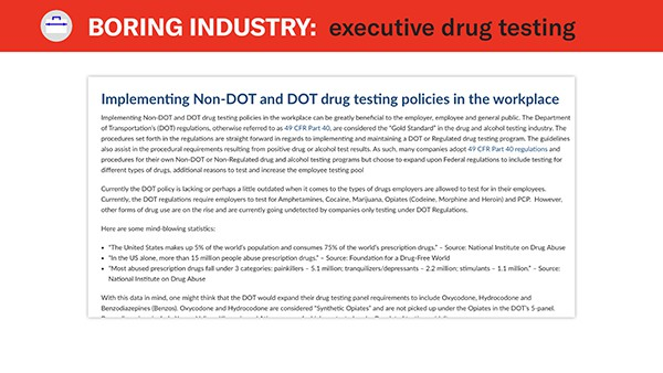 non dot drug testing example
