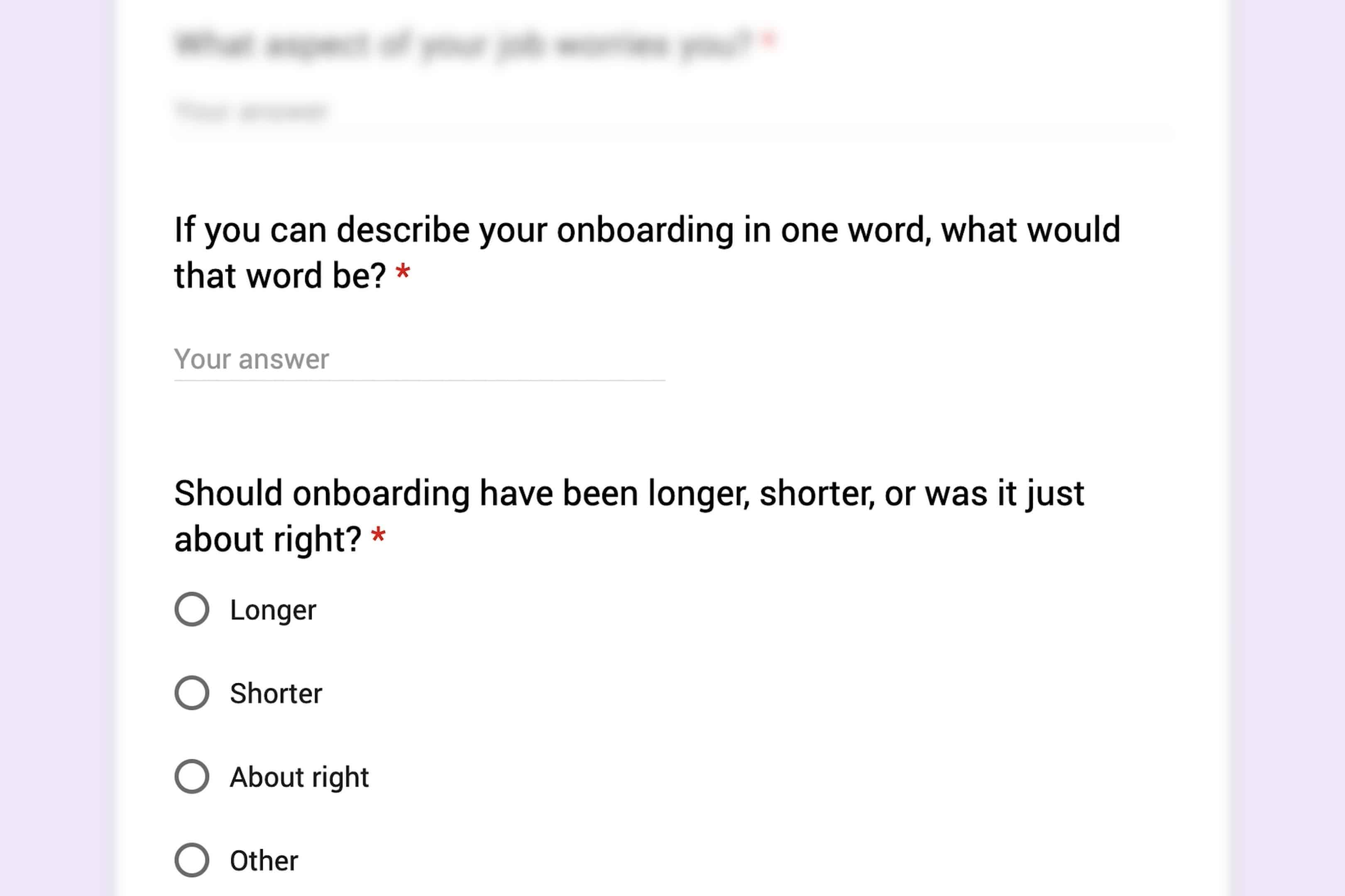 survey question examples for new hires