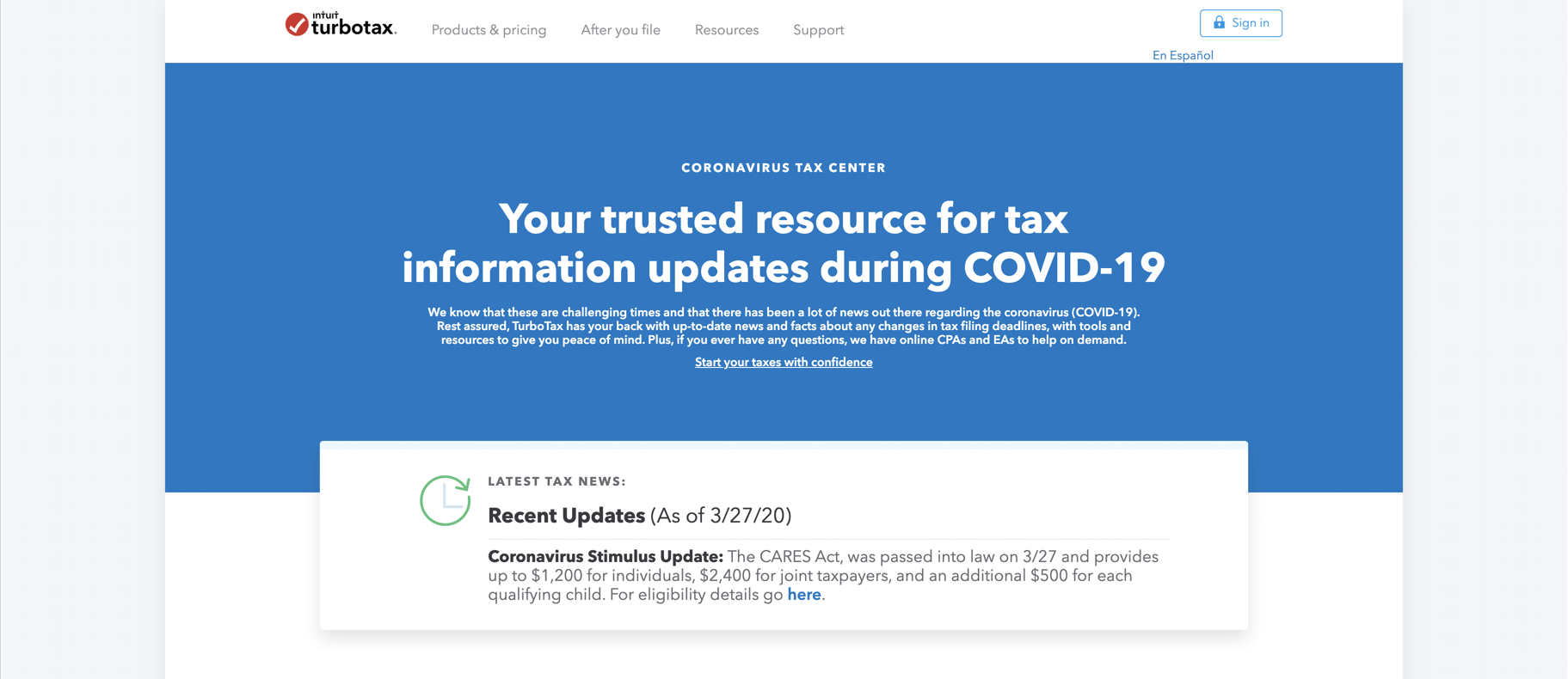 Turbo Tax COVID-19 hub news page
