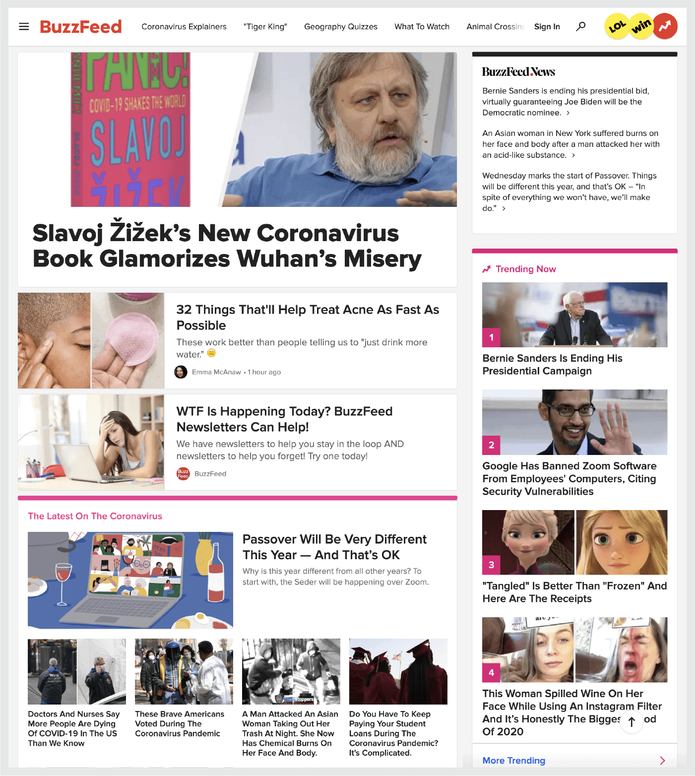 Screenshot: BuzzFeed's homepage