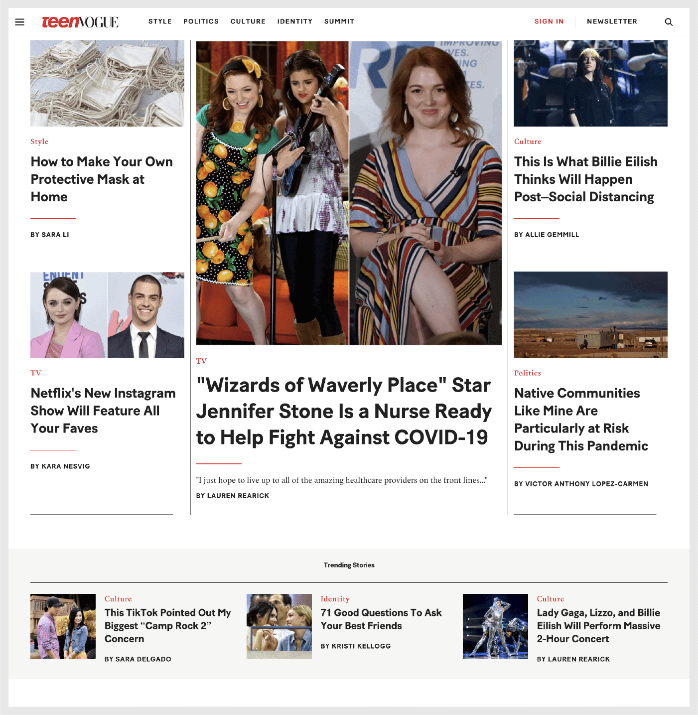 Screenshot: Teen Vogue's homepage