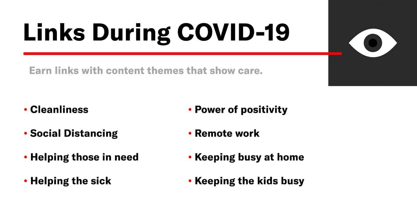 list of content themes that can earn links during covid 19