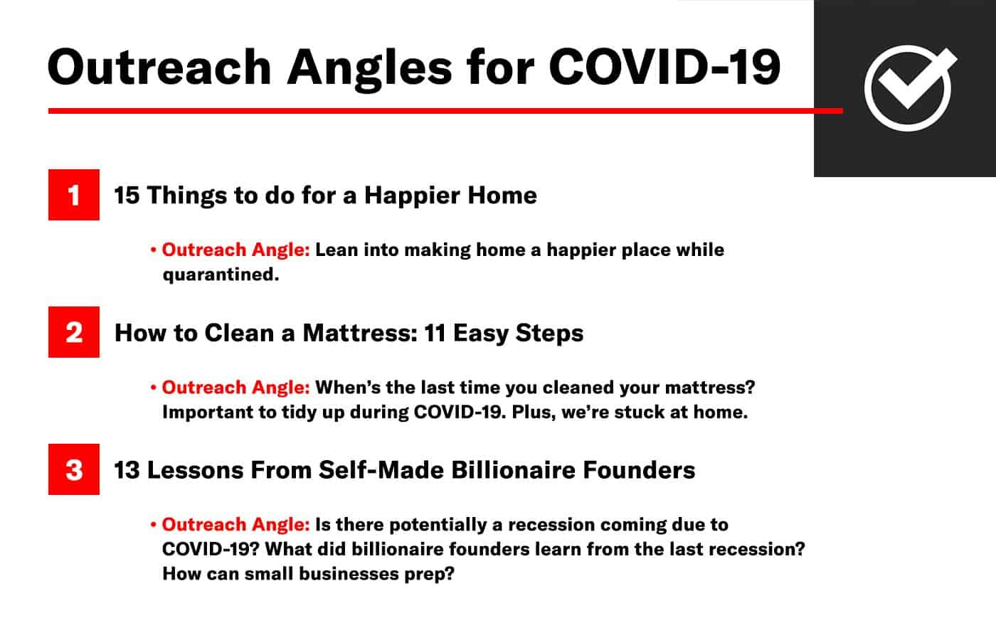 list of outreach angles for covid 19