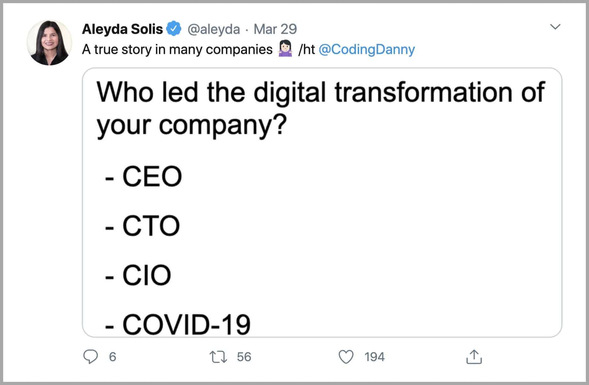 screenshot of tweet from aleyda solis showing question of who led the digital transformation of your company with ceo cto cio and covid-19 as answer options