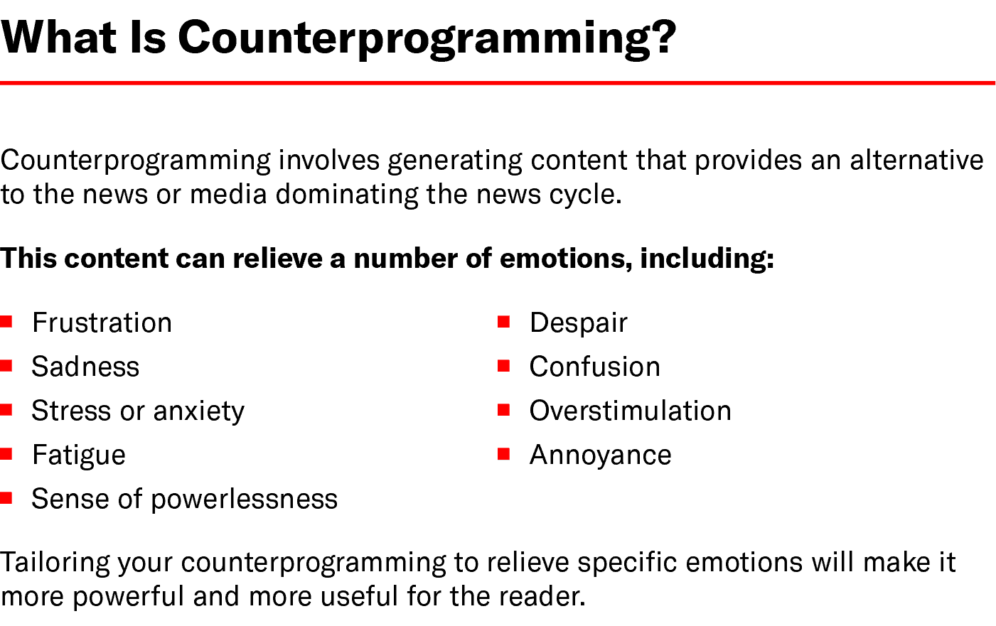 Chart: What Is Counterprogramming?