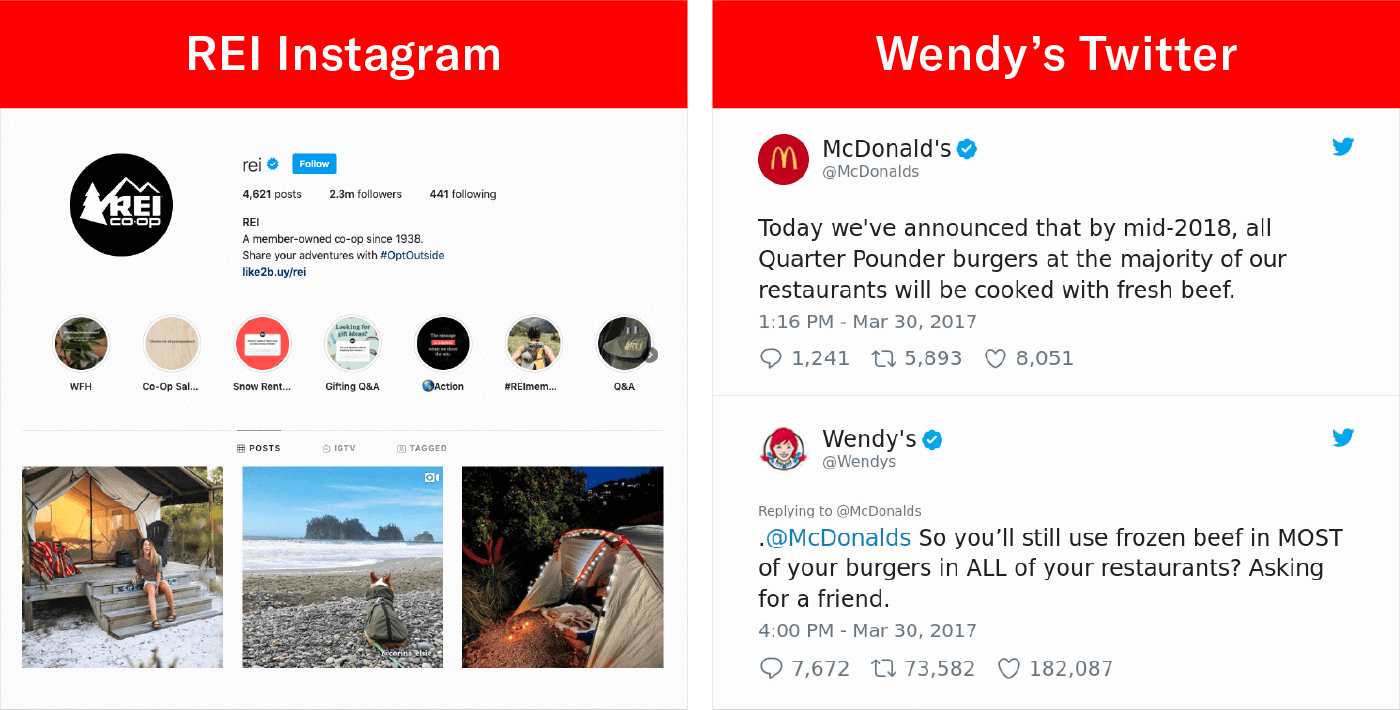 screengrab of engaging content of REI's instagram and Wendy's Twitter interactions