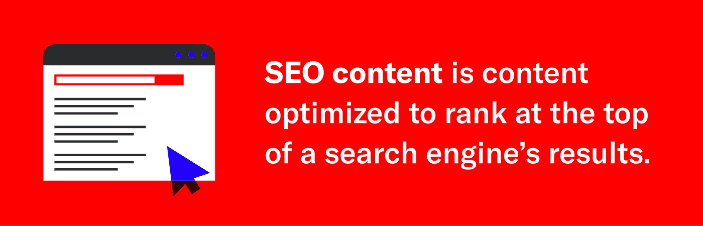 graphic describing what seo content is