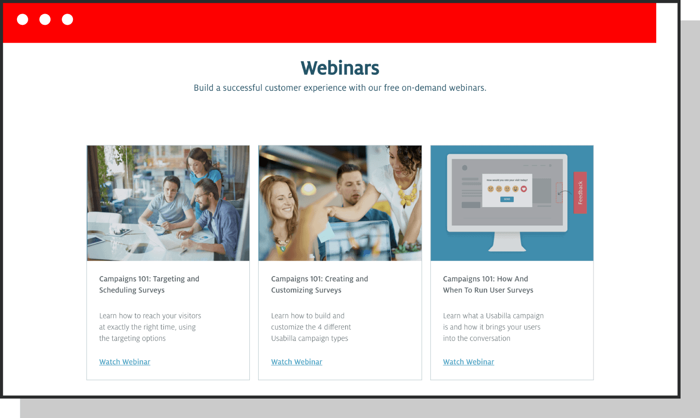 example screenshot of webinar homepage