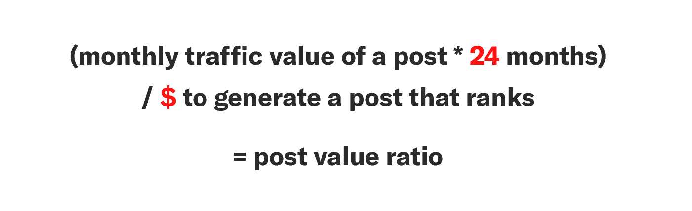 Evergreen post value ratio formula: Monthly traffic value of a post * 24 months /over the cost that it takes to generate a post that ranks