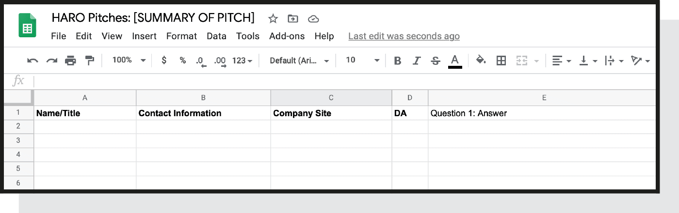 Google sheet template to organize pitches
