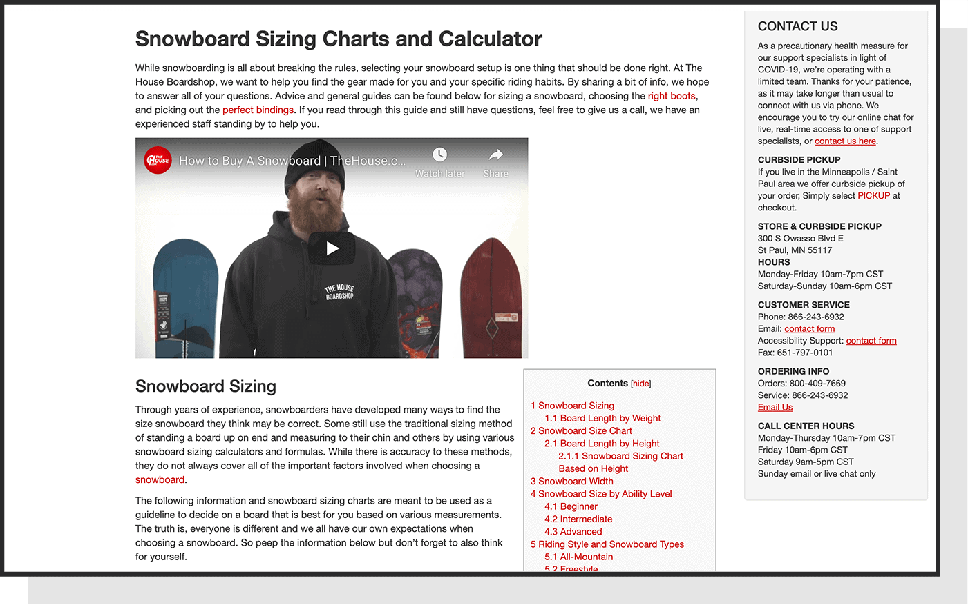 house snowboard sizing