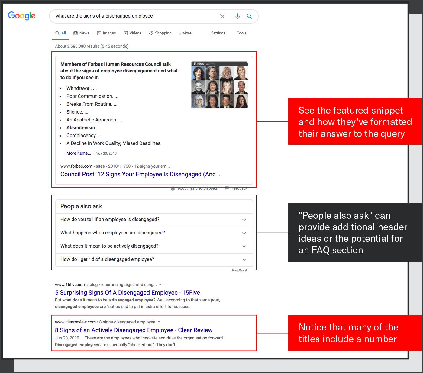 content marketing best practice screenshot of looking at SERP signals