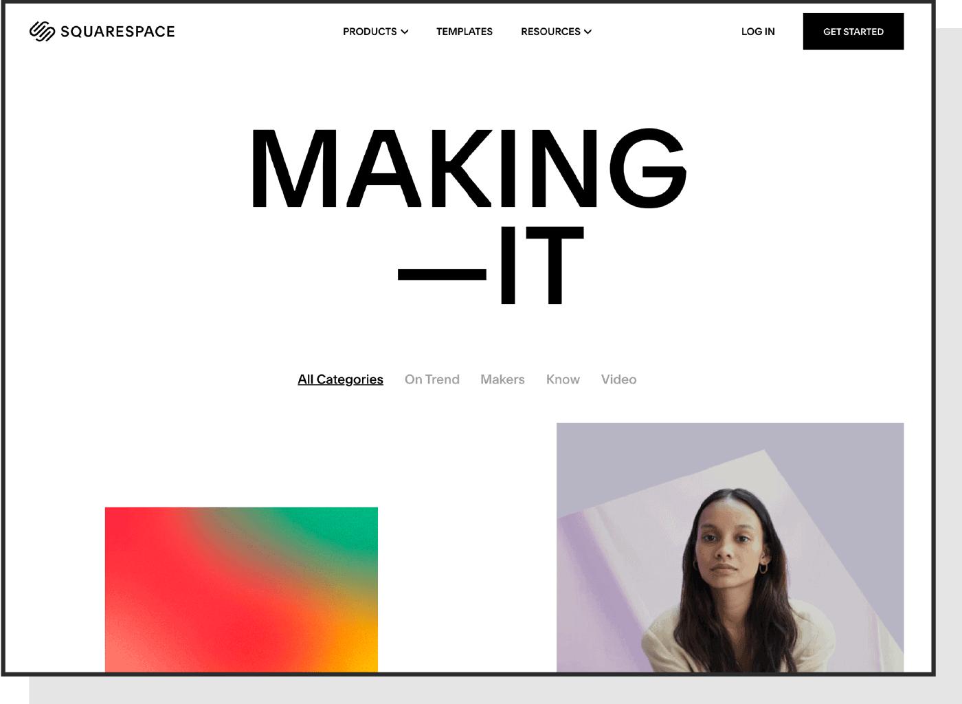 A screenshot of the Squarespace Making It blog.