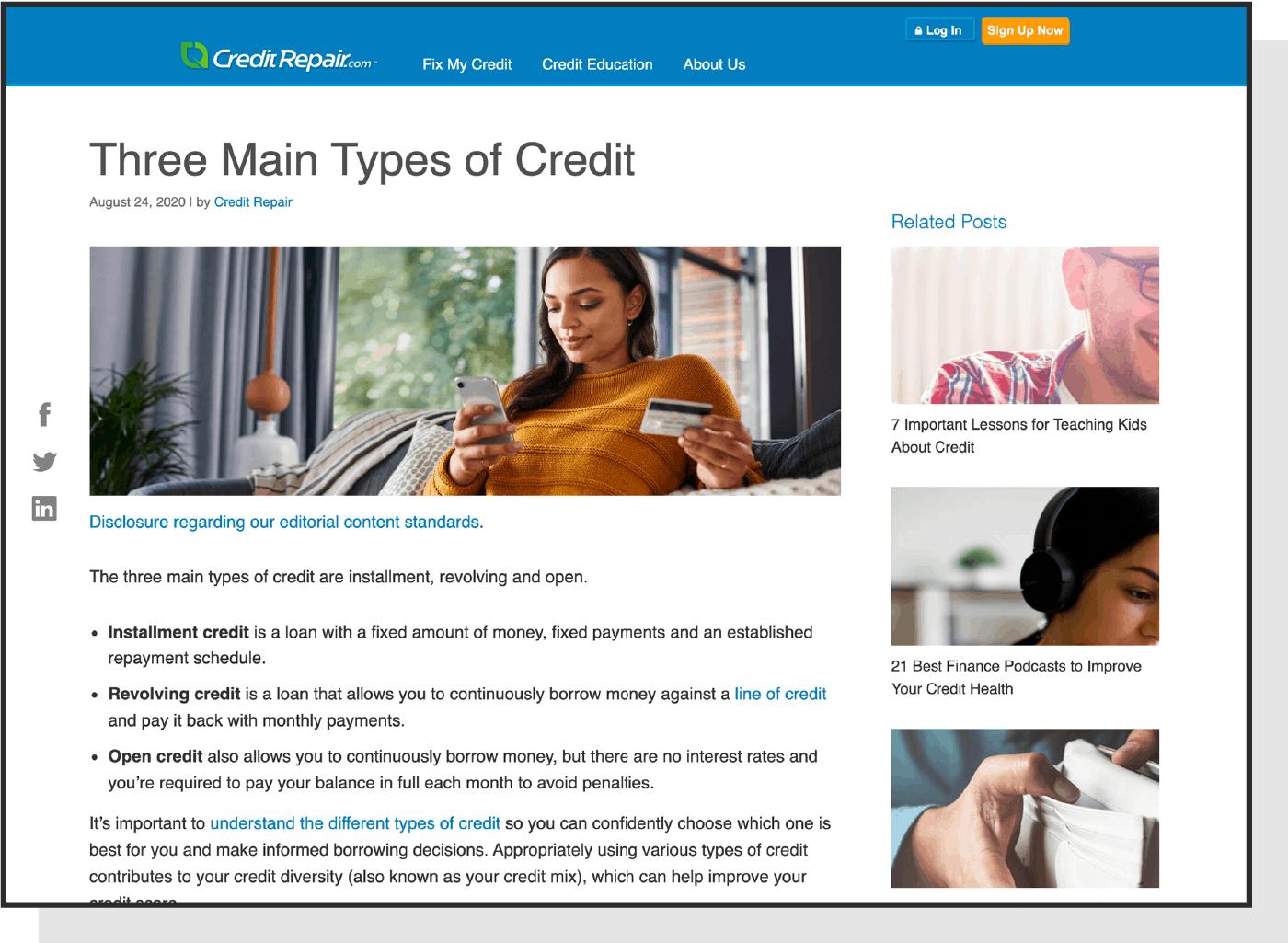 Screenshot of an article on the Credit Repair blog.