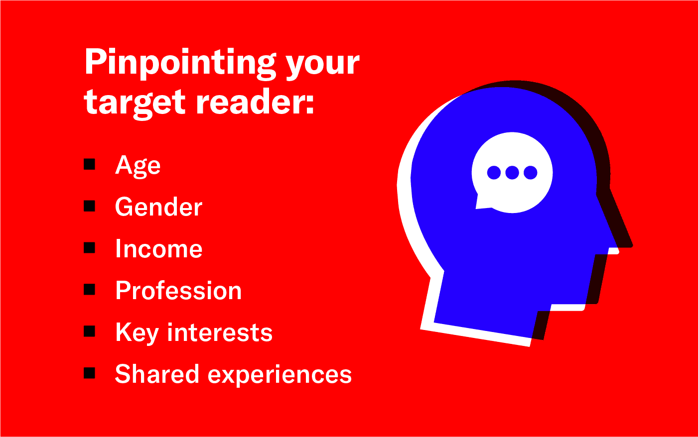 Target reader characteristics include age, gender, income, profession, key interests, and shared experiences