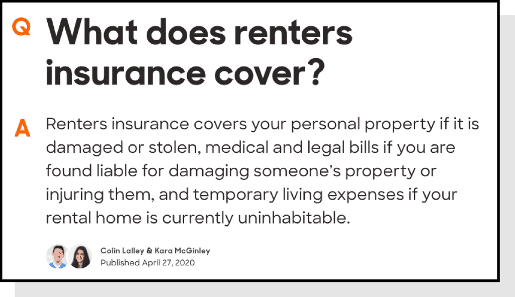what does renter's insurance cover
